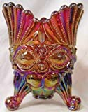 Ruby Red Carnival Glass Spooner Utencil Holder ~ Eyewinker Pattern