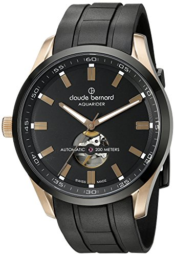 Claude-Bernard-Mens-85026-37RNCA-NIR-Aquarider-Stainless-Steel-Watch-with-Black-Silicone-Band