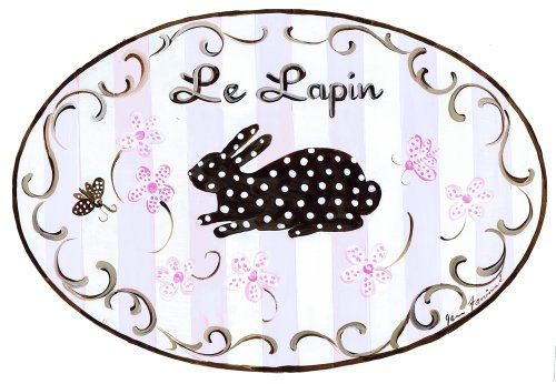 The Kids Room by Stupell Le Lapin, The Bunny Polka Dot Bunny on Pink Striped Background Oval Wall Plaque