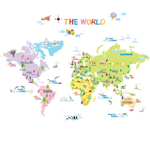 Decowall DP 08200 Colourful World Map Home Art Decoration wall stickers wall