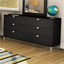 Big Sale South Shore Spark Collection 6-Drawer Double Dresser, Pure Black