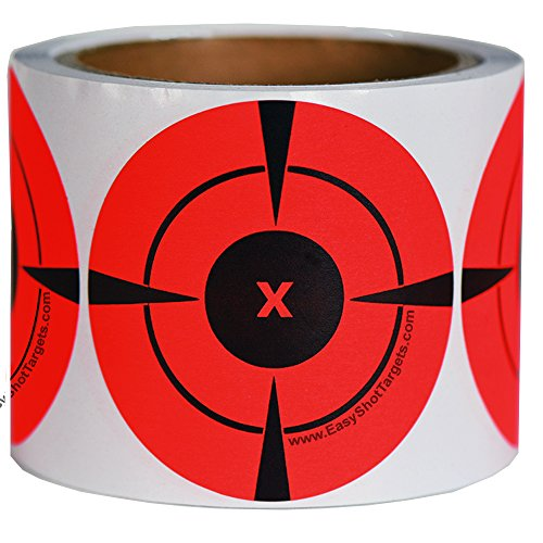 250 Mega-Pack 3-Inch Target Stickers | Buy 1 Roll & Get 1 Free - Neon Orange Self-Adhesive Targets for Shooting