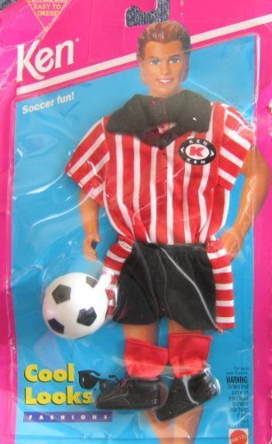 Barbie KEN Cool Looks Fashions SOCCER FUN! w Soccer Ball - Easy To Dress (1994) by Easy To Dress Ken Cool Looks Fashions Soccer Fun!