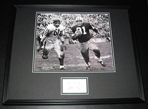 Signed Jim Taylor Photograph - Framed 16X20 Poster Display Packers Vs Bears - Autographed Nfl Photos