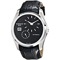 Tissot Couturier Leather Analog Display Automatic Men's Watch (Black)