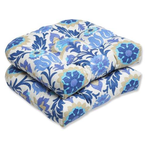 Pillow Perfect Outdoor Santa Maria Wicker Seat Cushion, Azure, Set of 2 photo