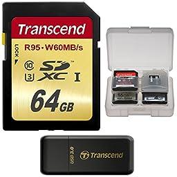 Transcend 64GB SecureDigital SDXC UHS-I U3 Memory Card with 3.0 Reader + Card Case