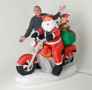 Pere Noel Gonflable Sur Moto avec Teddy Decoration Noel