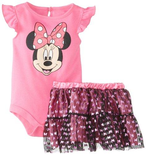 Disney Baby Baby-Girls Newborn Sugar Plum Minnie Mouse Tutu Skirt Set With Glitter Skirt, Sugar Plum, 3-6 Months front-887843