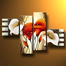 Wieco Art - Extra Large Scents of Callas Modern Gallery Wrapped Artwork 100% Hand Painted Floral Oil Paintings on Canvas Wall Art Ready to Hang for Decor Home Decorations Wall Decor 4pcs/set XL
