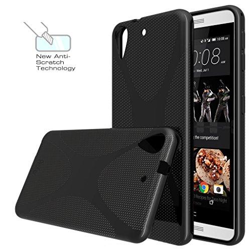 HTC Desire 626 / 626G Hülle, Profer [X Design] TPU Schutzhülle Tasche Case Cover Ultradünn Kratzfest Weich Flexibel Silikon Bumper für HTC Desire 626 / 626G (X schwarz)