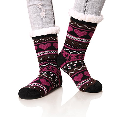 Dosoni Women's Snowflake Fleece Lining Knit Christmas Knee Highs Stockings Slipper Socks (Black)-Shoe Size 6-10 (Thermal Fleece Lined Socks compare prices)
