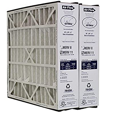 "Heating, Cooling & Air Trion Air Bear 259112-103 (2 Pack) Pleated Furnace Air Filter 20""x20""X5"" MERV 11"