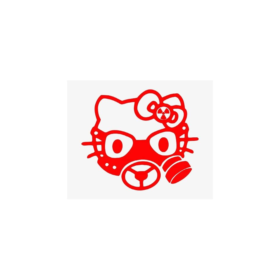 HELLO KITTY GAS MASK   6 RED   Vinyl Decal Sticker   NOTEBOOK, LAPTOP, WALL, WINDOW, CAR, TRUCK, MOTORCYCLE