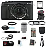 Fujifilm X-E2 XE2 16.3 MP Compact System Digital Camera (Black) + 64GB SD HC Memory Card + Tiffen 58mm Photo Essentials Kit + Accessory Kit