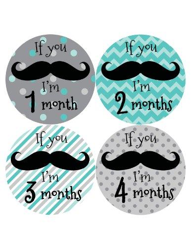 Months In Motion 217 Monthly Baby Stickers - Baby Boy - Months 1-12 - Milestone Sticker Mustache front-29149