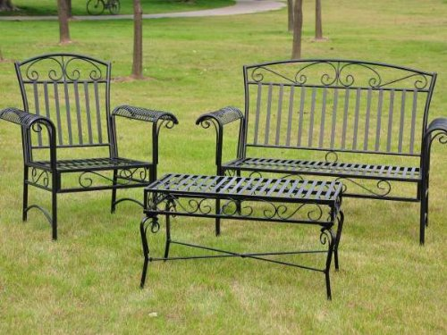 TROPICO 3 PIECE IRON LOVESEAT SET - LOVESEAT, COFFEE TABLE and 1 CHAIR - PATIO FURNITURE