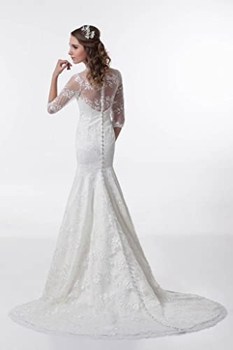 A-Line V-Shaped Neckline 3/4 Length Sleeves With Sheer Lace Details Gown Featuring Lace Applique