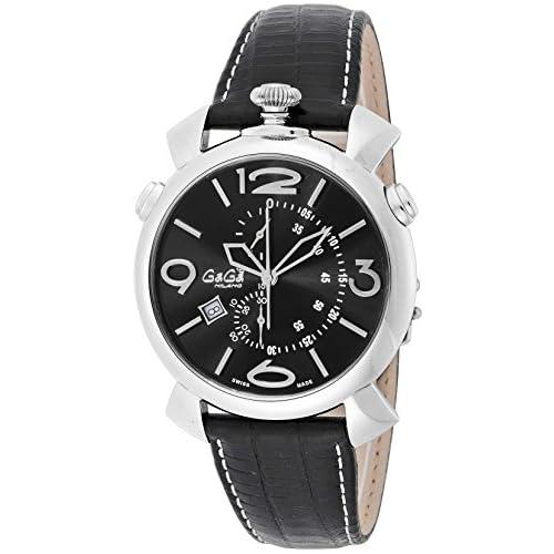 [ガガミラノ]GaGa MILANO 腕時計 THIN CHRONO 46MM ブラック文字盤 デイト スイスメイド 5097.01BK メンズ 【並行輸入品】
