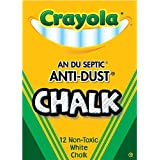 Crayola Nontoxic Anti-Dust Chalk, White, 12 Sticks/Box (50-1402)