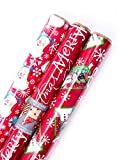 Hallmark Christmas Reversible Wrapping Paper (Santa, 3 Pack)