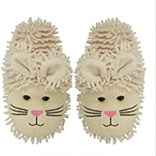 Aroma Home Adult Fuzzy Friends Warm Slippers White Bunny