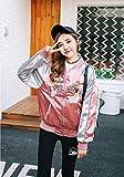 (べコ) Beco レディース サテン ブルゾンジャンパー 刺繍入り 秋冬 選べるサイズ ピンク ブラック (XL, ピンク)