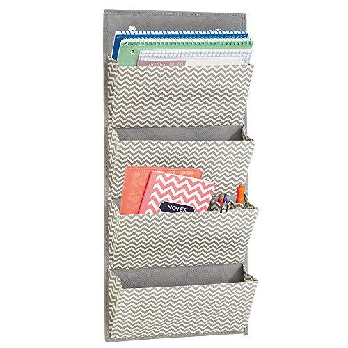 mDesign Wall Mount/Over the Door Fabric Office Supplies Storage Organizer for Notebooks, Planners, File Folders - 4 Pockets, Gray/Cream (Fabric Craft Organizer compare prices)
