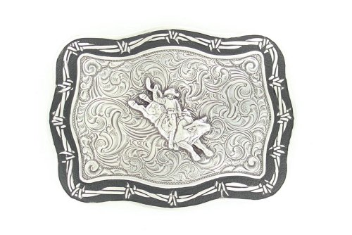 Crumrine 38028 Barbed Wire Bull Rider Buckle Silver