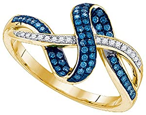 10kt Yellow Gold Womens Round Blue Colored Diamond Band Fashion Ring (.25 cttw.)