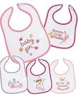 BabyPrem Baby Pack of 5 Bibs Velcro Pink Blue Boys Girls GIRLS