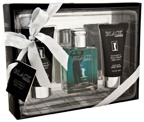 Black Extreme Eau De Toilette Deluxe Gift Set By Preferred Fragrance Contains Impressions of Polo® Black By Ralph Lauren