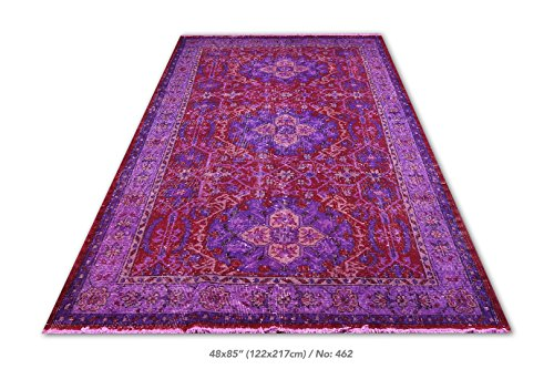 4 X 7.1 Feet Purple, Liliac and Red Color Overdyed Vintage Turkish Rug