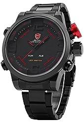 SHARK Mens LED Date Day Sport Army Black Stainless Steel Quartz Wrist Watch SH105