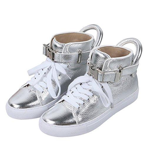Casual Lace Up high-top delle Aijia nuove donne autunno Scarpe Sneakers Stivaletti piatto con fibbia (silver, 41)