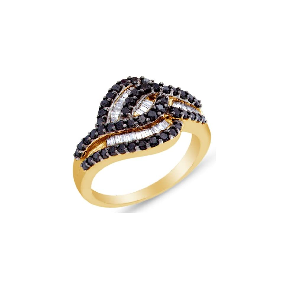 Size 4   14K Yellow and White Two 2 Tone Gold Invisible & Channel Set Round and Baguette Cut Black and White Diamond Ladies Womens Fashion, Wedding Ring OR Anniversary Band (.95 cttw.)