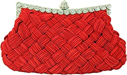 Chicastic Pleated and Braided Rhinestone studded Wedding Evening Bridal Bridesmaid Clutch Purse - Red