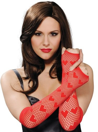 Rubie's Costume Red Fingerless Net Heart Glove