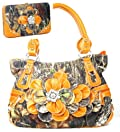 Western Orange Camouflage Flower Rhinestone Purse W Matching Wallet