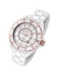 Rougois Women's High Tech White Ceramic Watch with Rose Gold Trim and 36 Genuine Diamonds