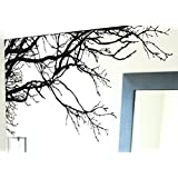 "TREE TOP BRANCHES WALL DECAL (BLACK /Left to Right) 100"" W X 44"" H #444m by Stickerbrand ★ Easy to Apply and REMOVABLE ★ Made in the USA ★ No Mess, No Paint, No Glue/Paste, No Residue ≈ Safer than wallpaper ★ Black color"