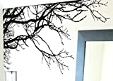 "TREE TOP BRANCHES WALL DECAL (BLACK /Left to Right) 100"" W X 44"" H #444m by Stickerbrand. Easy to Apply and Removable. Made in the USA. No Glue Needed. Safer than wallpaper. Black color"