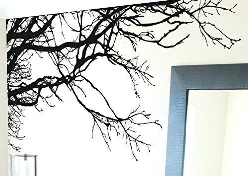 Stickerbrand Nature Vinyl Wall Art Tree Top Branches Wall Decal Sticker - Black, 44