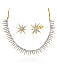 "Peora 18 Karat Gold Plated Cubic Zirconia ""Ivy"" Necklace Earrings Set (PN306GJ)"