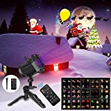 Christmas Projector Light, KMASHI 15 slide Projector Light with Remote Control Timer Show Landscape Lamp, Waterproof Holiday LED Light for New Year Birthday Party Easter Day Halloween Decorations (Color: Black)