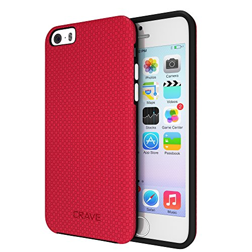 iPhone SE Case, Crave Dual Guard Protection Series Case for iPhone 5 / 5s / SE - Red