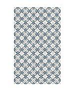 Huella deco Alfombra de Vinilo (Azul/Blanco)