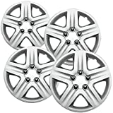 OxGord Hubcaps For Chevy Impala 06-11 / Monte Carlo 06-07 Set of 4 Pack Auto Wheel Covers, Aftermarket Factory Replacement with ABS Silver Plastic Fits 16