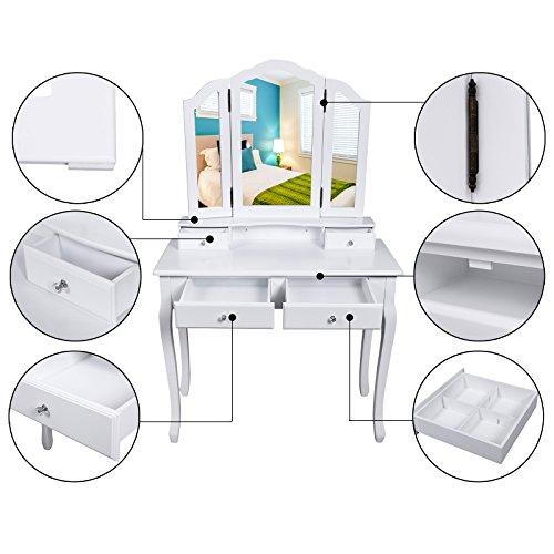 Songmics tocador mesa para maquillaje buc lico blanco con for Espejo para maquillarse