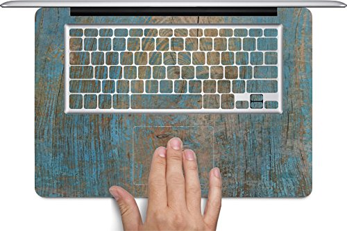 Wood with Blue on Wooden Old Vintage Background Macbook Full Keyboard Vinyl Decal Skin (Fits 17 inch) by Moonlight Printing